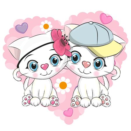 两个可爱的卡通小猫在心脏的背景