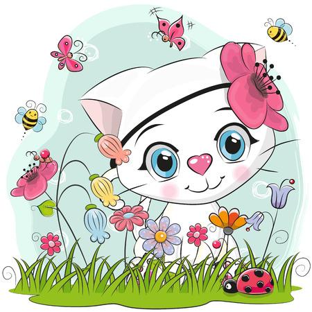 Cute Cartoon Kitten girl on a meadow with flowers and butterflies