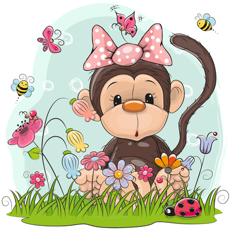 Cute Cartoon Monkey girl on a meadow with flowers and butterflies Illustration