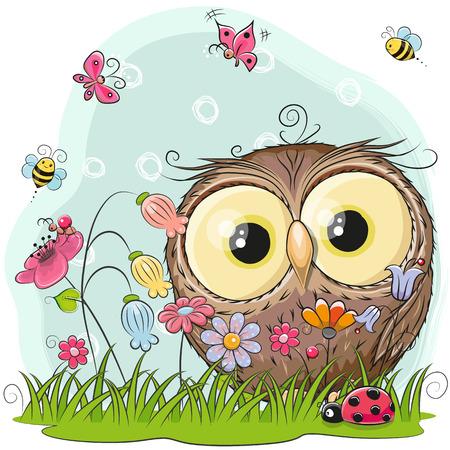 Coruja bonito dos desenhos animados em um pasto com flores e borboletas Foto de archivo - 85386824