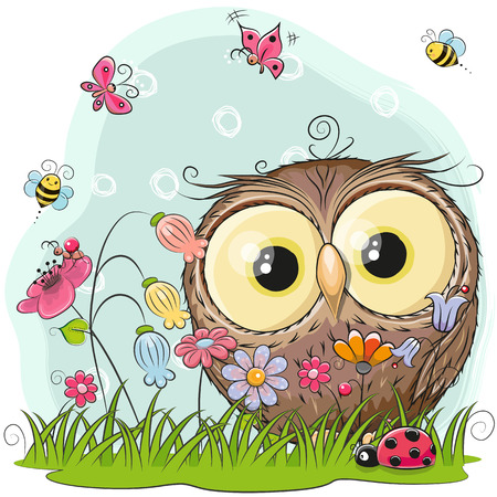 Cute Cartoon Owl on a meadow with flowers and butterflies