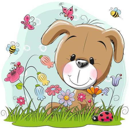 Cute Cartoon Puppy girl em um prado com flores e borboletas Foto de archivo - 85366783