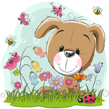 Cute Cartoon Puppy girl on a meadow with flowers and butterflies
