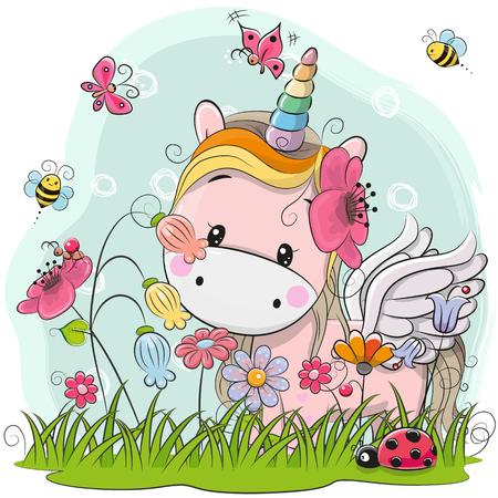 Dessin animé mignon Kitt Licorne sur un pré avec des fleurs et des papillons