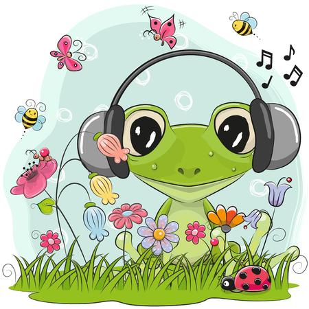 꽃과 나비와 초원에 귀여운 만화 개구리