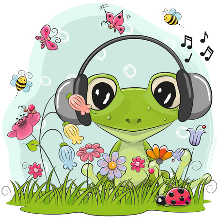 Cute Cartoon Frog on a meadow with flowers and butterflies Çizim