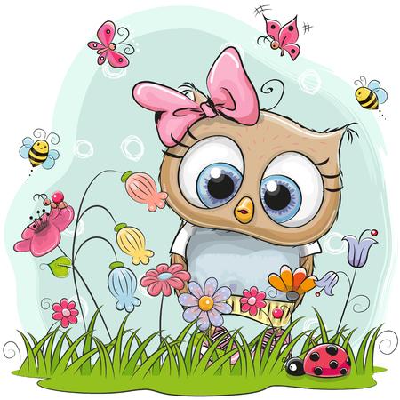 牧草地には花と蝶のかわいい漫画フクロウ