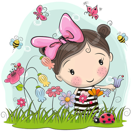 Cute Cartoon Girl on a meadow with flowers and butterflies
