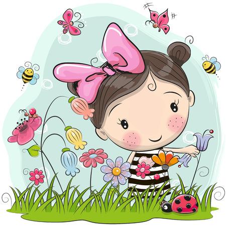 Leuk Cartoon Meisje Op Een Weide Met Bloemen En Vlinders Stock Illustratie