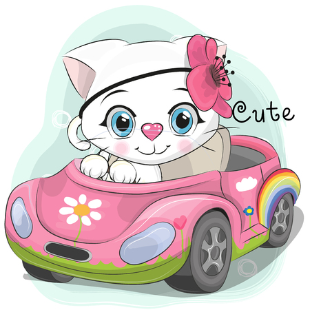 Cute Cartoon white Kitten Girl goes on a pink car Illustration
