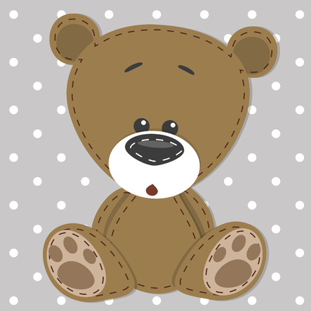 Greeting card with bear on a gray background