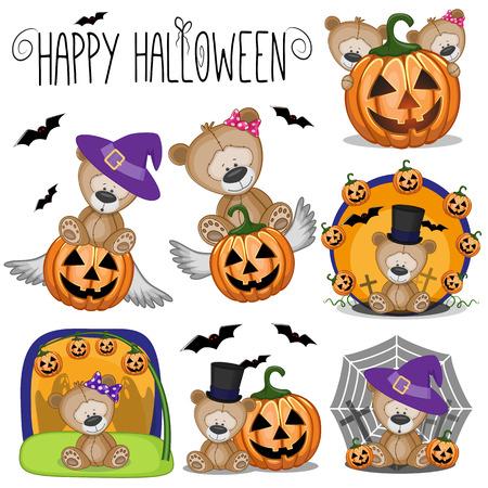 Cute Halloween set with Cartoon Teddy Bear