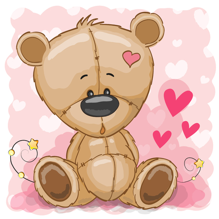 Drawing Teddy bear on a pink background