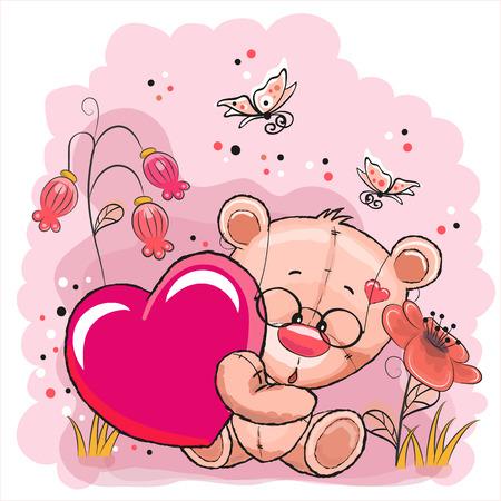분홍색 배경에 마음으로 귀여운 테 디 베어