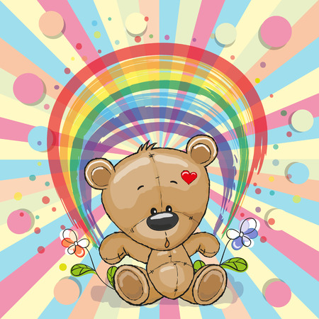 Cute Cartoon Teddy Bear with a rainbow Ilustração