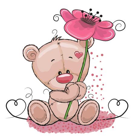 인사말 카드 귀여운 만화 곰 꽃 일러스트