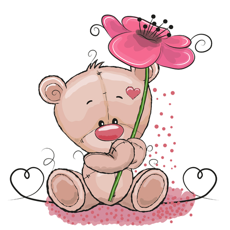 Greeting card Cute Cartoon Bear with flower