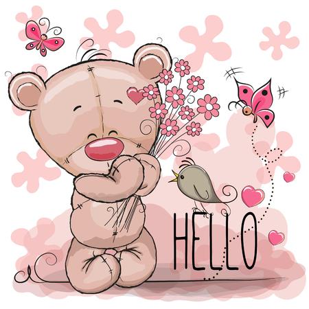 인사말 카드 꽃과 귀여운 만화 곰