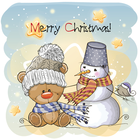 Greeting Christmas card Teddy, Snowman and bird Ilustração