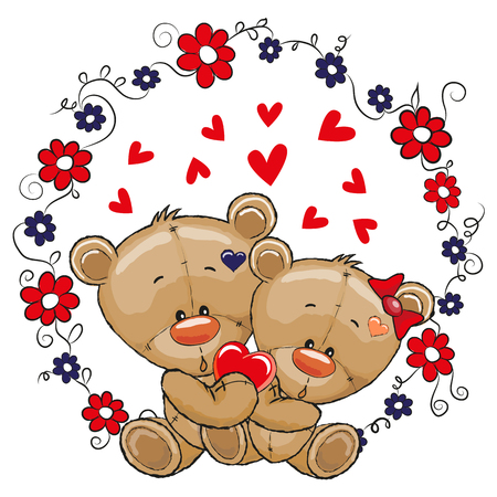 Two cute cartoon Bears on a flowers background