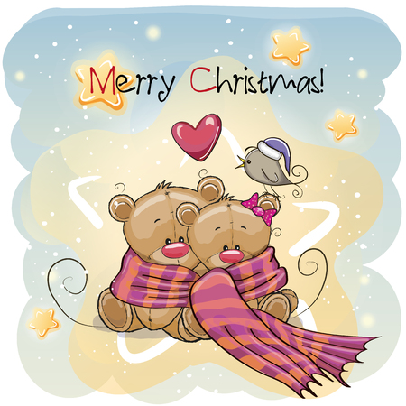Greeting Christmas card two Teddy Bears wrap up in a scarf