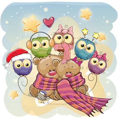 Greeting Christmas card two Teddy Bears and Owls 일러스트
