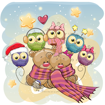 Greeting Christmas card two Teddy Bears and Owls Illustration