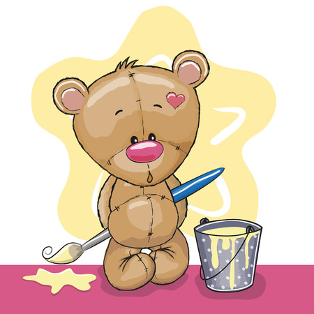 Cute Teddy Bear with brush is drawing a star