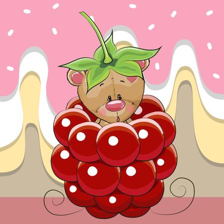 Cute Cartoon Teddy Bear is sitting inside a raspberry Illustration