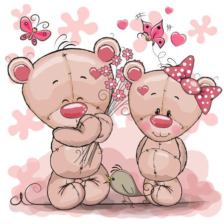 Greeting card Teddy boy gives flowers to a Teddy girl