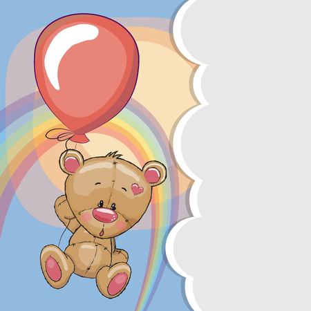 Greeting card Teddy fly on a balloon
