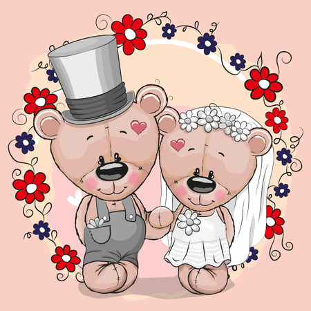Teddy Bride and Teddy groom on a pink background Stock Vector - 85641155