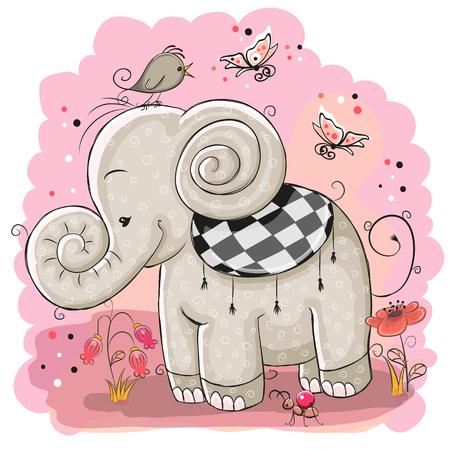 귀여운 만화 코끼리와 분홍색 배경에 새 일러스트