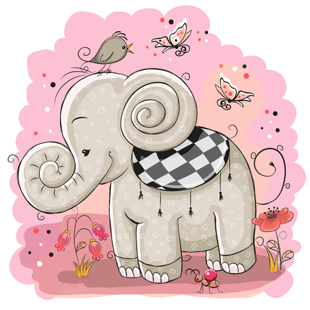 Cute Cartoon Elephant and a bird on a pink background