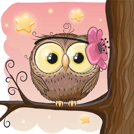 Cute Owl with flower on a brunch Ilustração