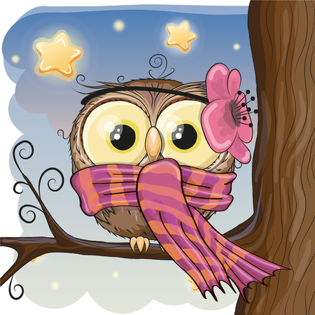 Cute Owl with flower and scarf on a brunch Ilustração