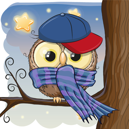 Cute Owl with cap and scarf on a brunch