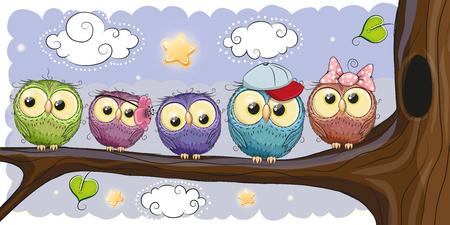 Five Cute Owls is sitting on a brunch Ilustração