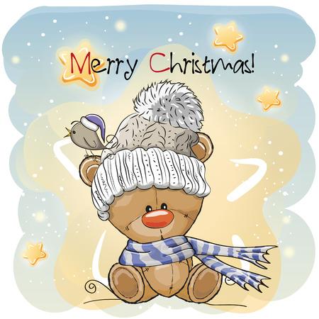 Greeting Christmas card with Cute Cartoon Teddy Bear