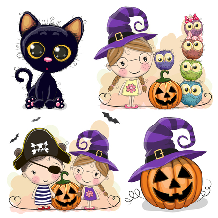 Set of Halloween cards with girls, owls and black cat