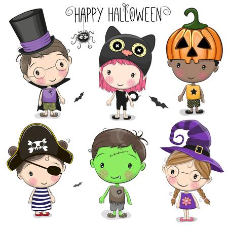 Set met schattige Halloween Kids op een witte achtergrond