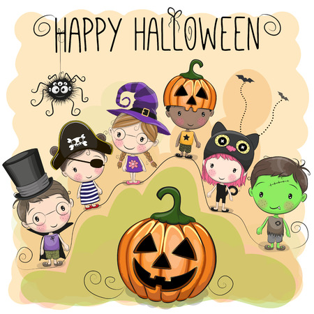 Cute Halloween illustration with kids on orange background