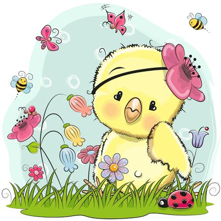 Pollo lindo de la historieta en un prado con las flores y las mariposas Foto de archivo - 85781990