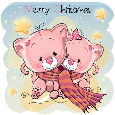 Greeting Christmas card two Cats wrap up in a scarf Illustration