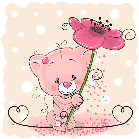 Greeting card Cat with floweron a pink background
