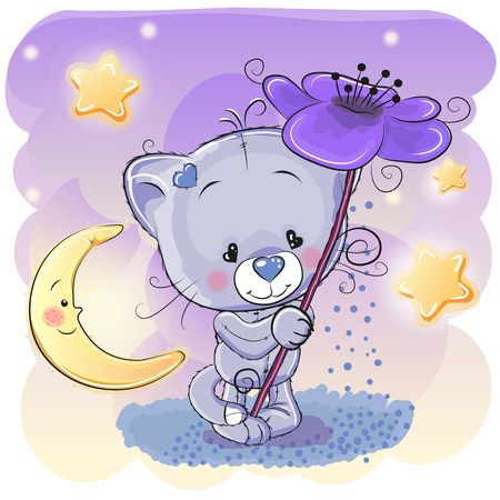 Greeting card Cat with flower and the moon Ilustração