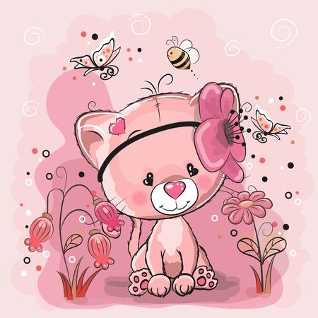 ピンクの背景にハートを持つ2つのかわいい猫  イラスト・ベクター素材