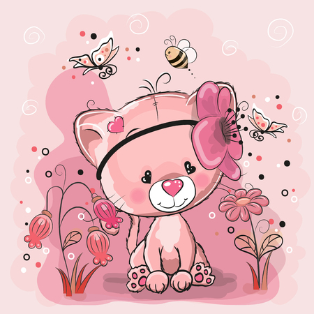 분홍색 배경에 마음과 두 귀여운 고양이