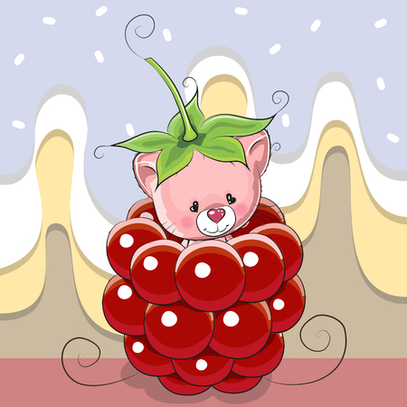 Cute Cartoon Kitten is sitting inside a raspberry Illustration