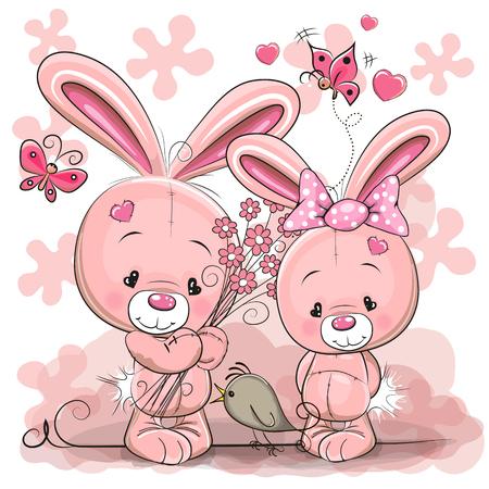토끼 소년과 소녀 일러스트